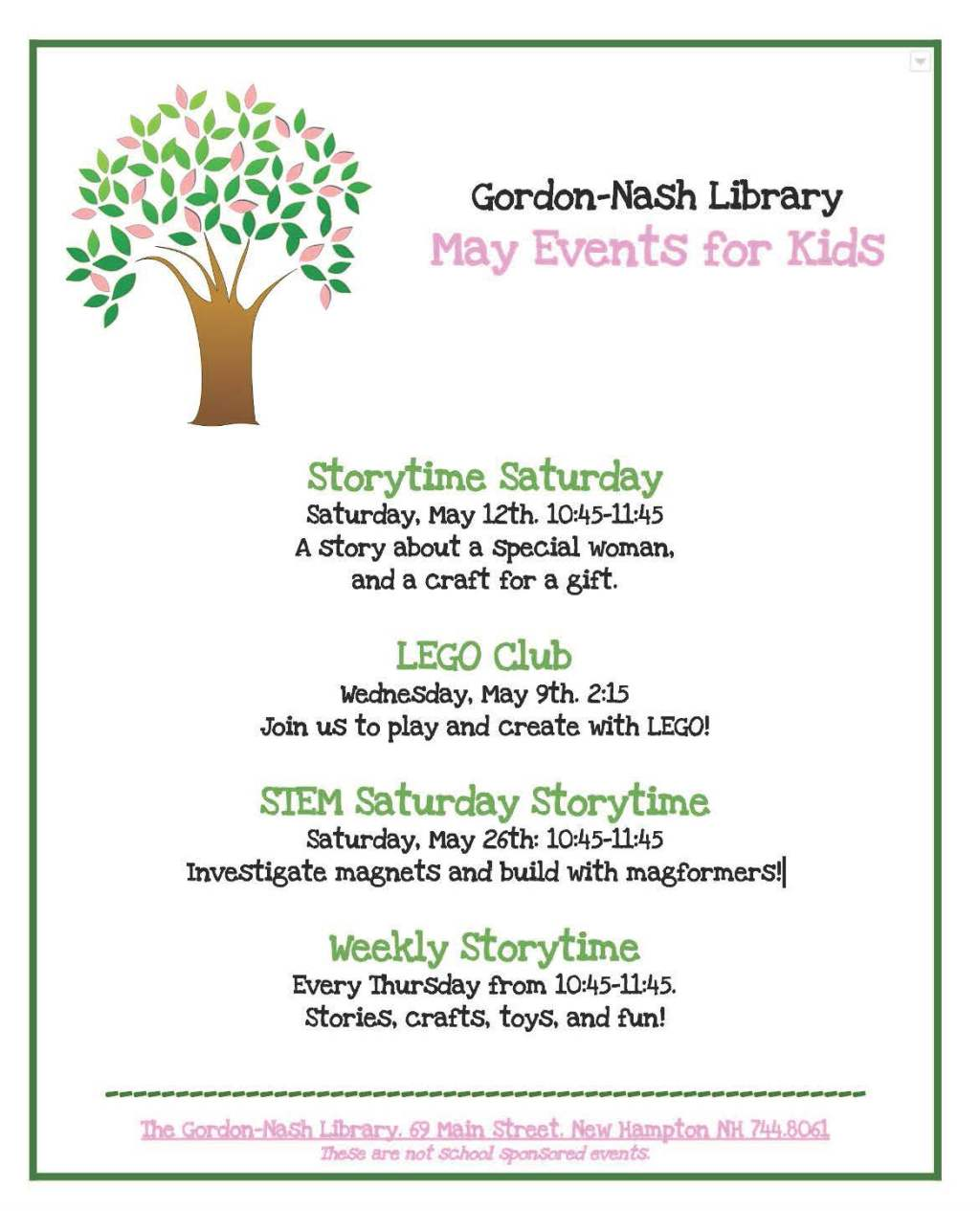 Gordon Nash May Events for Kids